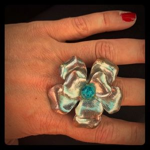 Jewelry - 💓HOST PICK💗Vintage Turquoise&Silver Flower RING